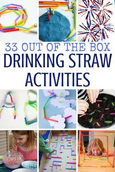 Collection of 33 very simple and easy drinking straw activities for kids, including STEM, art and craft projects, fine motor practice and more. Straw Activities, Indoor Activities For Kids, Motor Activities, Infant Activities, Preschool Activities, Preschool Education, Children Activities, Creative Activities, Summer Activities