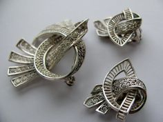 Vintage Sterling Filigree Look Brooch and Earrings Set Made in Germany. $45.00, via Etsy.