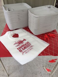 """Marriage Is Messy"" bibs. Crawfish Boil Couple's Shower #SipHipHooray #crawfish…"