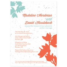 Plantable Modern Orchids Wedding Invitation