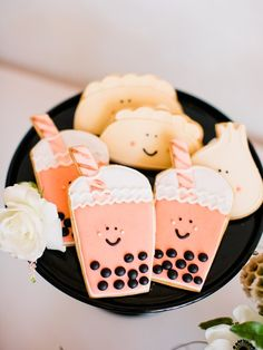 Boba tea themed baby shower (With images) Tea Cookies, Sugar Cookies, Boba Bar, Baby Shower Tea, Baby Showers, Cute Snacks, Tea Party Theme, Donut Party, Bubble Tea