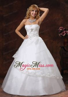 wholesale embroidery and beading decorate bodice strapless floor-length tulle and taffeta a-line 2013 wedding dress
