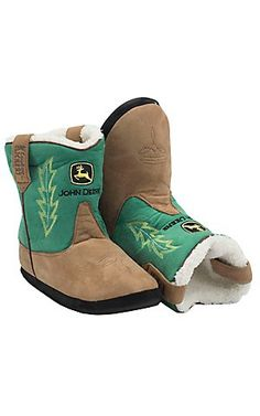 These are adorable!!! Montana Silversmiths® Cowboy Kickers™ Adult John Deere Brown w/ Green Cowboy Boot Slippers | Cavender's Boot City