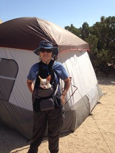 Me with Blanca in her pack ready to go hiking.