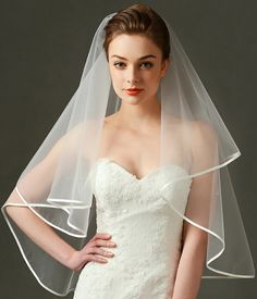 "LynnBridal Plain Tulle Ribbon Edge Wedding Veil 43"" Long Ivory Waist Length #weddingveil #bridaveil #veils"