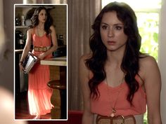 Maxi dresses are one of summer's most popular style trends!  Troian Belissario as Spencer looks awesome in this DV by Dolce Vita coral maxi dress, accessorized with a cute Anthropologie belt! Tune in Tuesdays at 8/7c on ABC Family!