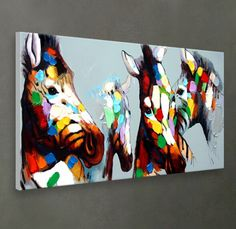 Hand-painted oil painting on canvas wall art. Colorful