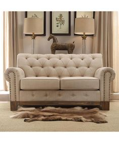 Beige Morrow Tufted Scroll Love Seat Chair