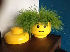 Lego storage head met gras