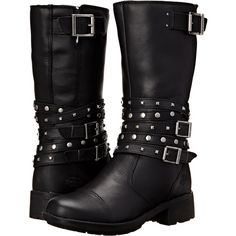Harley-Davidson Kennedy (Black) Women's Zip Boots ($96) ❤ liked on Polyvore featuring shoes, boots, black, mid-calf boots, black platform shoes, black studded boots, genuine leather boots, mid calf boots and studded leather boots