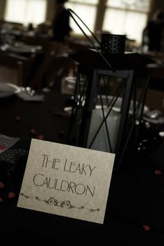 The Crafting of a Harry Potter Wedding - table name -- leaky cauldron, the burrow, headquarters, hogwarts, etc. So cute!