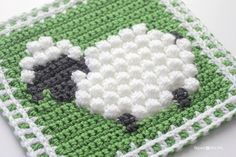 Crochet Bobble Stitch Sheep Square - #FreeCrochetPattern