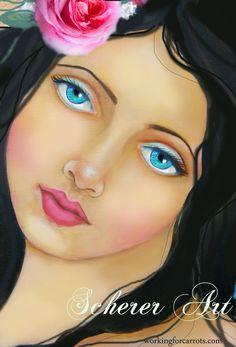 romantic rose angel painting art by Lisa Scherer