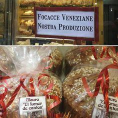 Ecco le vere #focacce #veneziane!  Senza #canditi ne #uvetta ma solo con #zucchero e #mandorle in superficie.  Fatte con amore a #Rialto, nel cuore di #Venezia dai nostri #pasticceri #artigiani.  Da 500g o 750g, per le #feste regalate la dolcezza.    Venite a prenderle! Ottime per capodanno ;-)  www.elfornerdecanton.com