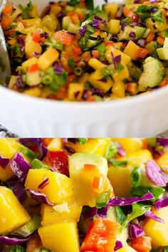 The best Mango Salsa recipe! So easy and made with fresh mango, avocado, crunchy cabbage and bell pepper and more. Perfect for dipping chips or topping chicken, seared or grilled fish like salmon and halibut or fish tacos! The Best Mango Salsa Recipe, Mango Salsa Recipes, Fruit Recipes, Fish Recipes, Seafood Recipes, Mexican Food Recipes, Dinner Recipes, Cooking Recipes, Mango Salsa