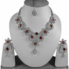 Maroon Bollywood Handcrafted Silver Tone Simulated Jewellery Set V49