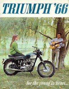 Vintage 1966 Triumph motorcycle ad Sun & Fun Motorsports 155 Escort LN, Iowa City, IA 319-338-1077