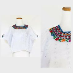 Embroidered Mexican Blouse / Eyelet Blouse / Floral Mexican Top / Hippie Blouse / Oaxacan Blouse / Peasant Blouse / Boxy 70s Crop Top / XL by GoodLuxeVintage on Etsy