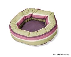 Danish Design Rambla Cushion Dog Bed - Vibrant Lime Cream Purple This striking range offers two modern fashionably striped colour-ways of luxury