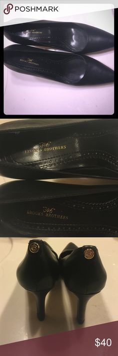 Black leather pumps Black size 7 1/2 leather pumps. Worn for a few hours. Brooks brothers. Make offer. Brooks Brothers Shoes Sandals