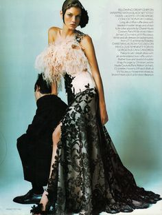 Angela Lindvall in Christian Lacroix Dress, in Vogue, 2000