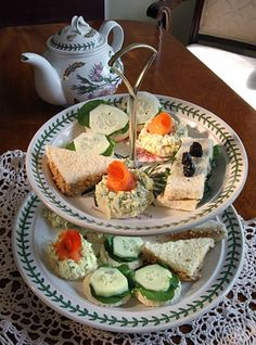 ... tea sandwiches ... including dilled egg salad with smoked salmon rosettes