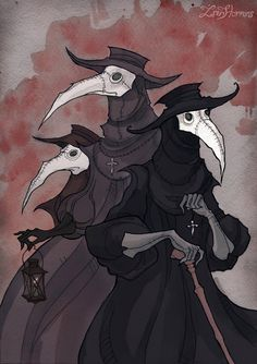 (Music:Type O Negative – Anesthesia) Plague doctors are very suitable for my taste, I love these guys so much Pigmented ink fineliner, watercolor and a bit of Photosho...
