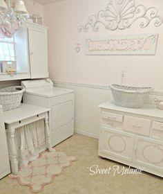 Shabby Chic Cottage BEST laundry room, decor & organization