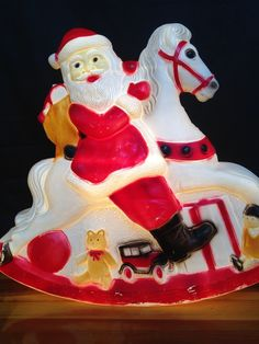 Outdoor Light Up Santa Extra large 43 tall santa claus lighted plastic blow mold extra large santa rocking horse light up christmas yard lawn ornament whimsical rare kitschy outdoor light plastic blow mold yesteryears by workwithnaturefo