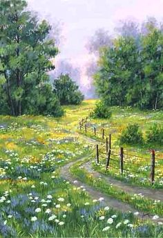 A larger image of Summer Lane, a rpint from an original watercolor by Kathy Glasnap of Door County, Wisconsin Paintings I Love, Nature Paintings, Landscape Paintings, Watercolor Landscape, Watercolor Paintings, Watercolour, Country Scenes, Pictures To Paint, Painting & Drawing