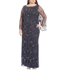 Pisarro Nights Plus Beaded Caftan Gown #Dillards
