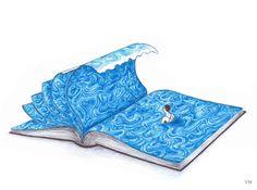 Nos zambullimos entre las páginas del libro (ilustración de Virginia Mori)