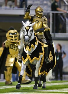 The University of Central Florida Knight and his noble steed Pegasus. Love it! Best mascots ever.