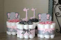 SET de 4 Mini color rosa y gris elefante y jirafa tortas de