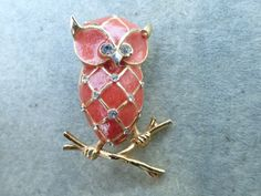 Vintage Signed Boucher Owl Brooch rhinestones and enamel figural AB610 by MeyankeeGliterz on Etsy