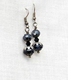 Black crystal Earrings crystal earrings gothic lolita #black #crystal #earrings