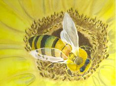 A Bee's Beauty: original watercolor painting
