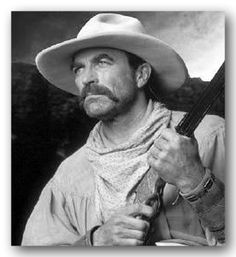 Tom Sellick in The Sacketts which is a 1979 American Western television film directed by Robert Totten and starring Sam Elliott, Tom Selleck, Jeff Osterhage, and Glenn Ford. It is bases on Louis L'Amour's novels.