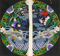 Chinese Round Embroidered Front Rank Badge Background, late Qing.