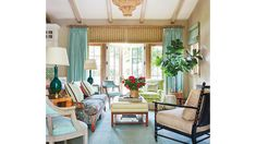 This New Palm Beach House Is Bursting With Old Florida Charm Burlap walls Cozy Family Rooms, Family Room Design, Cozy Living Rooms, Formal Living Rooms, Living Room Modern, Living Room Designs, Old Florida, Florida Home, Coastal Living Magazine