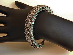 Waben-Armband - Silber und Minze