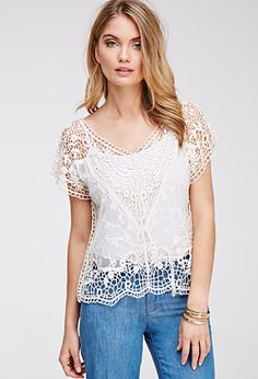 Lace-Paneled Crochet Top | Forever 21 - 2000055949