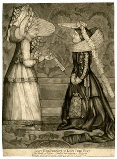 Satire on fashion; two young woman standing facing each other; one on the left with her hair dressed high and a gauzy veil like a visor projecting over her face, holding a puppy under one arm and gesturing outwards with a fan; the other wearing a long gown with a train and slashed sleeves, a large ruff and a head dress projecting from the crown of her head, with trailing lace bands, with scissors hanging from her waist band and a cloth bag from her wrist.  Mezzotint