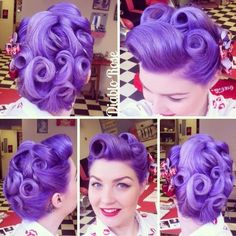 Pinup Beauty: Vintage 1940s hairstyle with punchy purple hair color by Diablo Rose. #hotonbeauty HOT Beauty Magazine facebook.com/hotbeautymagazine