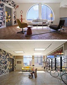 Yelp corporate bike lobby graphics