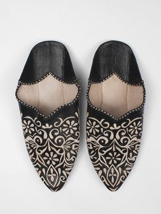 Moroccan Decorative Babouche Slippers, Black #category:womens #colour:black #group:slippers