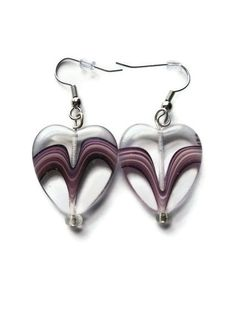 Glass Heart Earrings. Amethyst Purple Swirl. Hypoallergenic Silver Toned Hooks. Valentine's Day Gift. #earrings #heart #love #romantic #hearts #jewelry #purple $10.00