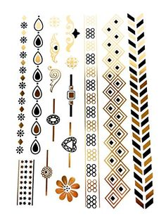 Sheet of Black and Gold Metallic Flash Temporary Tattoos - SD-8825 by Pritties Accessories. Sheet of Temporary Tattoos. Style Code: SD-8825. Black and Gold Metallic Design. Can Be Worn as Bracelets, Anklets, Rings and Necklaces. Easy To Transfer.