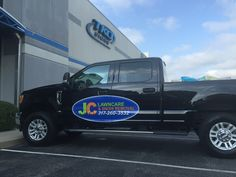 What would a company that does lawn care and landscaping be doing with their trucks in the snow? JC Lawncare is known for … well lawn care. Lawn Care Business Cards, Creative Advertising, Car Wrap, Decals, Van, Trucks, Snow, Logos, Vehicles