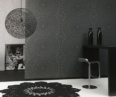 White and black wallpaper is a way to add contrasts to room decor with neutral colors and create dynamic and modern interior decorating color schemes. Black and white wallpaper patterns are stylish… Doily Lamp, Black Interior Design, Black And White Wallpaper, Love Wallpaper, Wall Treatments, Getting Old, Pendant Lamp, Color Trends, Event Design
